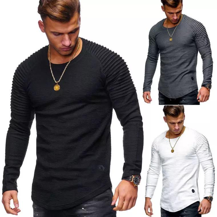 En Stock Mode couleur pure manches longues t-shirt <span class=keywords><strong>hommes</strong></span> <span class=keywords><strong>vêtements</strong></span>