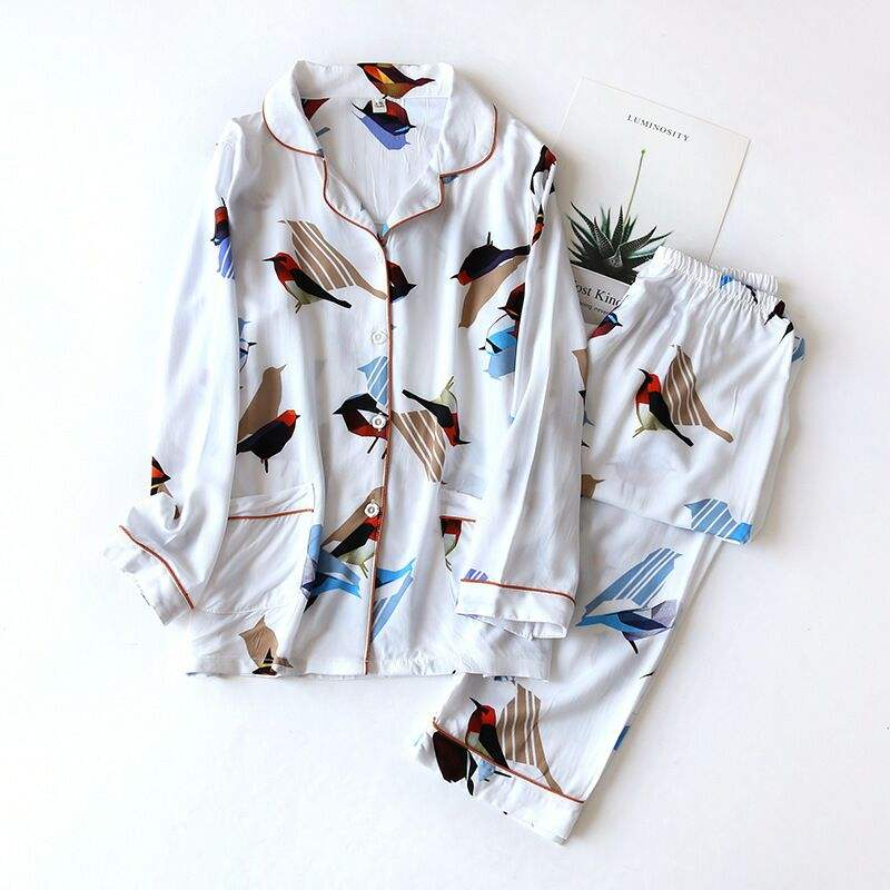 New Design Chinese Style Pajamas Cotton Pajamas Women Summer Two Piece Set Summer Thin Long Sleeve Rayon Long Sleeve Pajamas Set