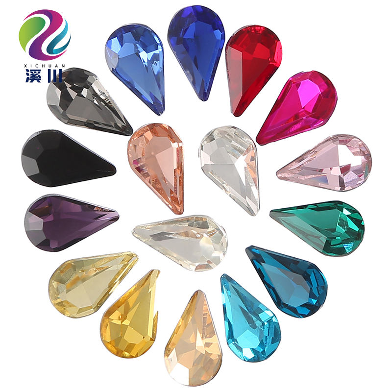 Factory Wholesale 3A Glass Drop Crystals View AB Colors Teardrop Sew on Rhinestones For Costumes Jewelry Making