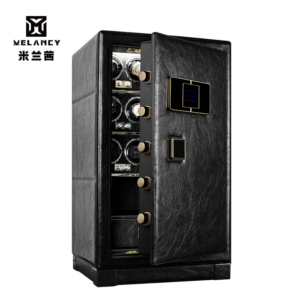 Hot sale Amazon Luxury Leather vault elictronic fingerprint safe locker box with LED/Watch winder/drawer for home/office/hotel