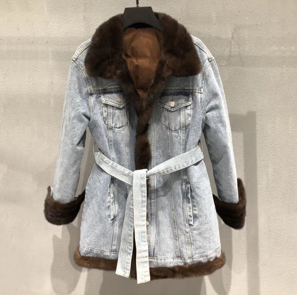 women's jackets 2020 winter canada parka natural mink fur trimming 90% duck down lining denim jacket ladies long coats