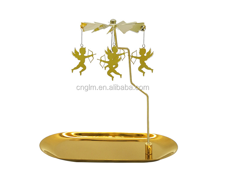 Metal Rotating Tea Light Candle Holder Gold Spinning Tealight tray Luxury candle plate for Home Festival Decoration
