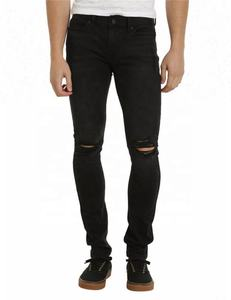 Royal wolf denim jeans manufacturer black cut knee ripped slim fit jeans men jeans fob price