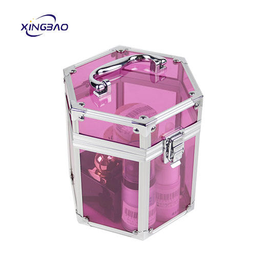 Customized Makeup Train Clear Transparent Acrylic Storage Box Vanity Beauty Case Cosmetic Case For Woman