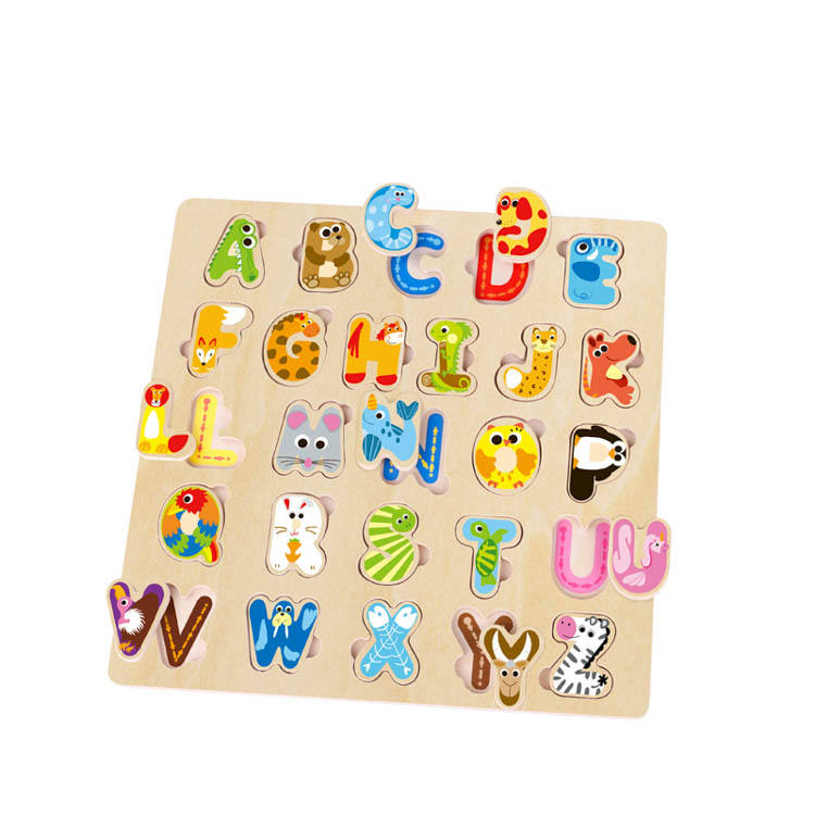 Custom Design Available Early Educational Kids DIY ABC Animal Shape Alphabet Wooden Puzzle