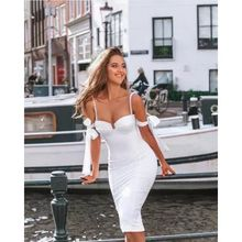 C2129  women party wear elegant white pearl strap V neck simple sexy midi bodycon evening bandage dress
