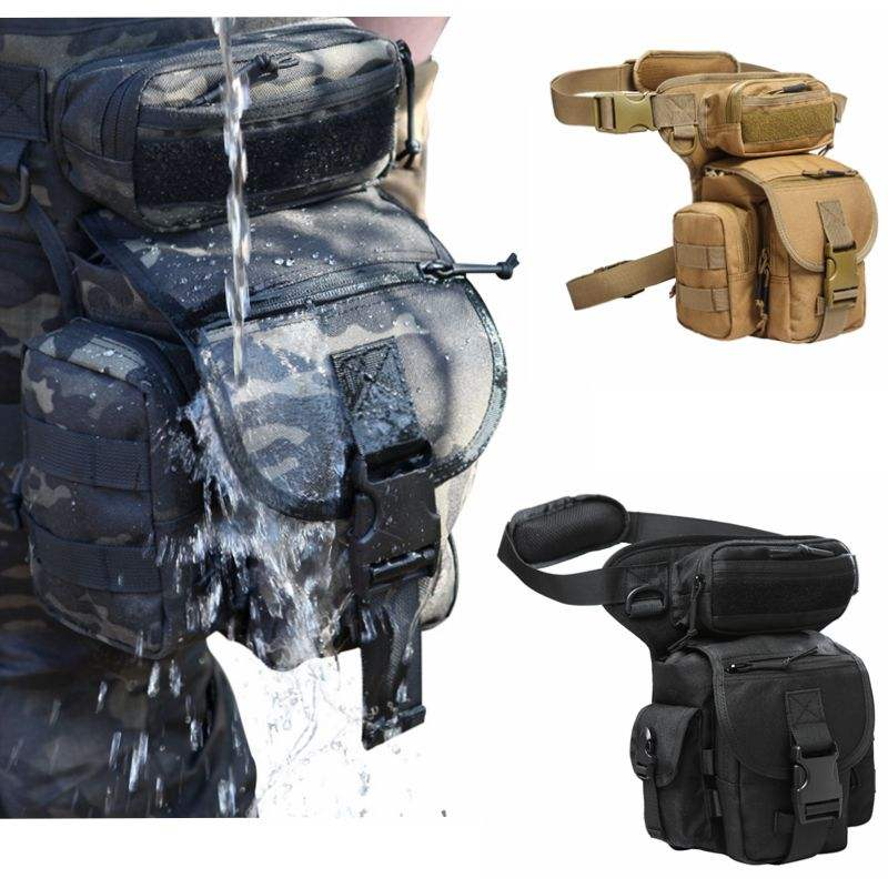 Military Tactical Drop Leg Bag Waist 1050D Hunting Bag Motorcycle Riding Multi-purpose Shoulder Pouch Cross Over Leg Rig Outdoor