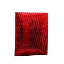 Red Aluminum Shinny Metallic Bubble Envelope Custom Logo for Cosmetics Nails Eyelash Clothes
