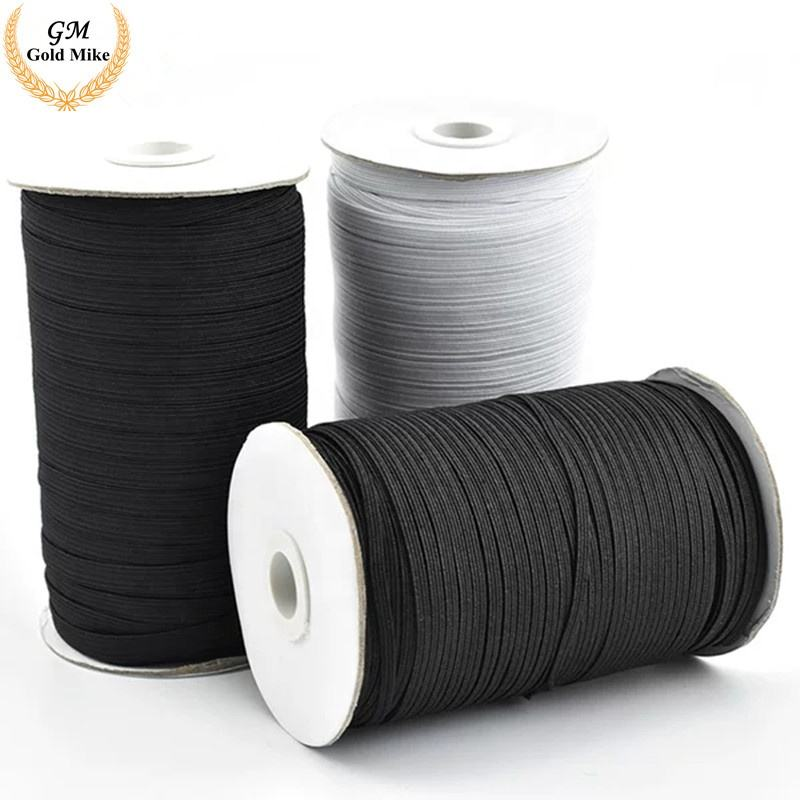 Wholesales White Color Black flat elastic cord On Roll