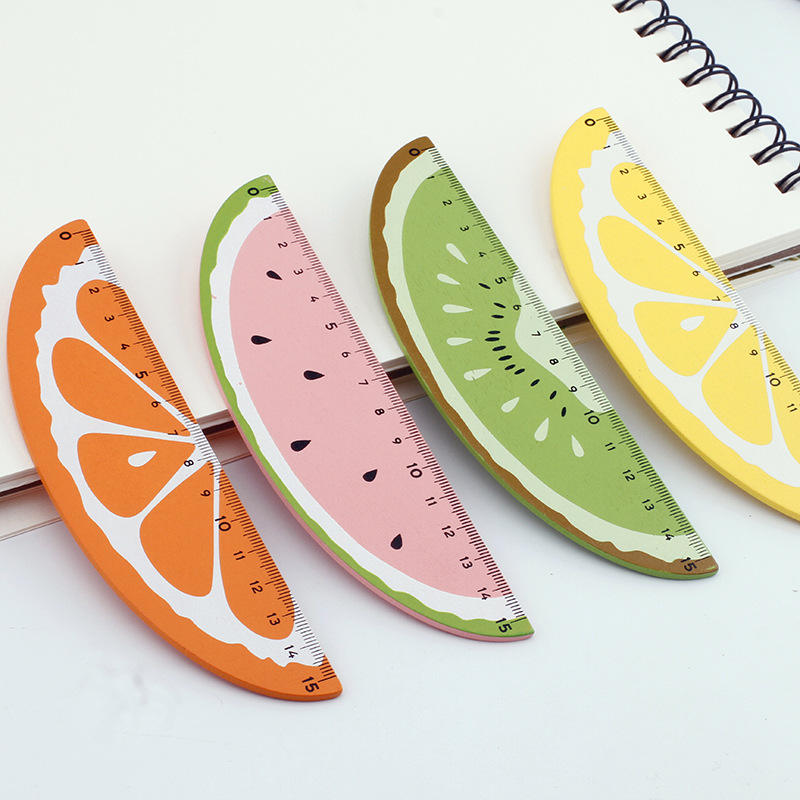 New Arrival Cute cartoon Fruit wooden Magic Ruler For Student
