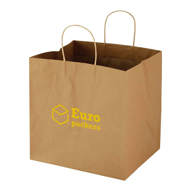 Giant extra large wide base square bottom gift bags catering block bottom paper bag with cut out patch handle