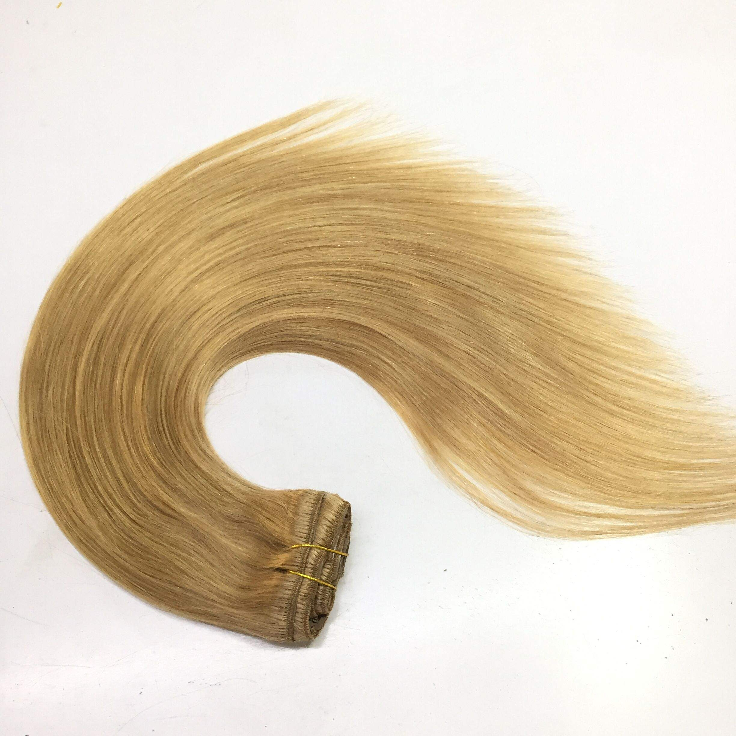 Indian hair high quality sample available double drawn human hair clip in hair extension