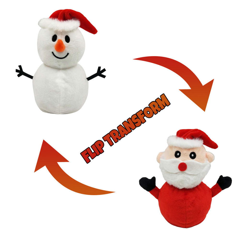 Christmas Plush Doll Reversible Flipped Santa Decoration