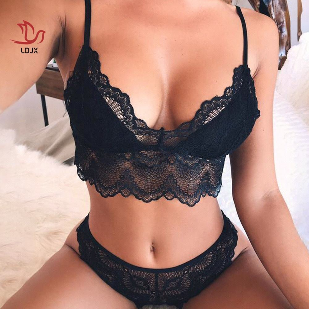 LDJX-L68 Wholesale Cheap Price Lace Lingerie Wirefree Bra and Panty Set Female Underwear Long Line Bras Sets For Sexy Women