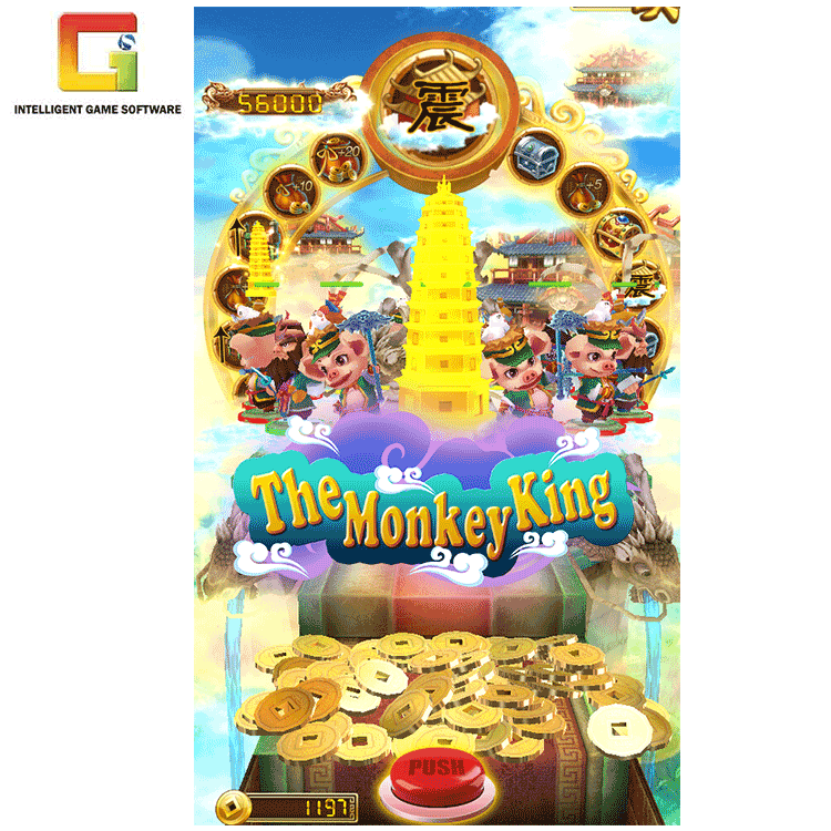 Amusement Indoor Video Arcade Game De Monkey King Loterij Machine Geld Pusher