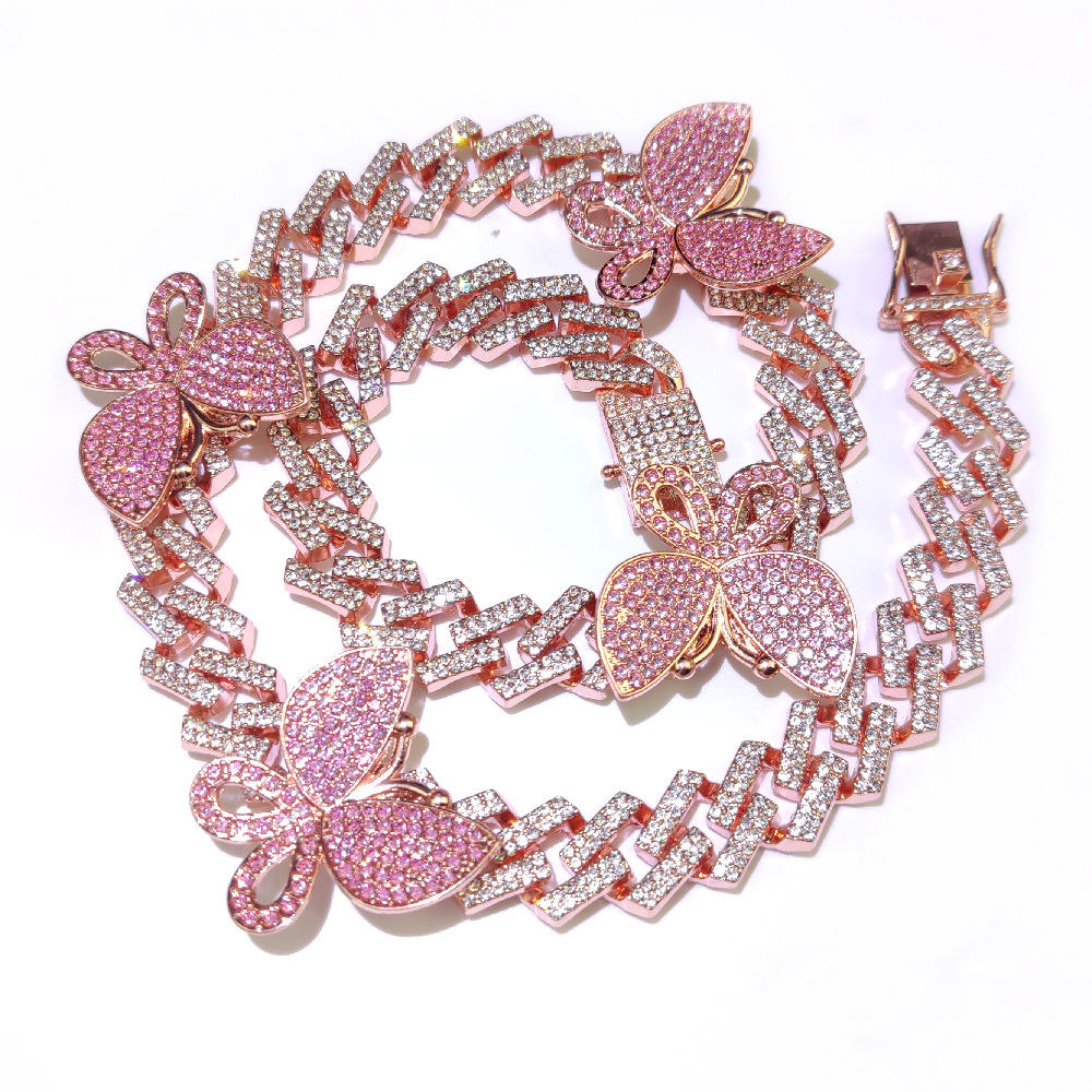 European Bling Jewelry Rose Gold Plated Pink Crystal Butterfly Necklace Rhombus Cuban Chain Butterfly Choker Necklace