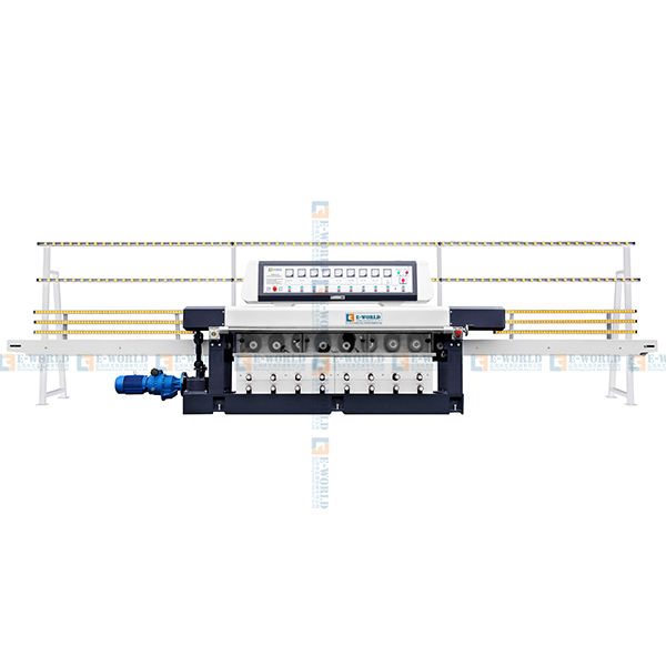9 Motors Glass Straight Line Round Edging Polishing Machine With PLC Custom Made Accept