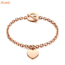 SLand Jewelry Manufacturer wholesale engravable Stainless Steel Heart Charm Chain Bracelet with Toggle Clasp for Women