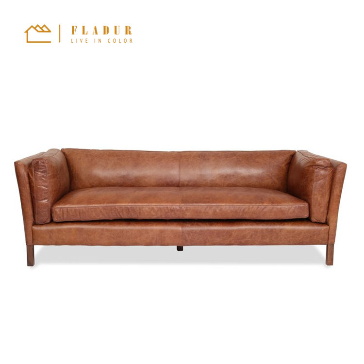 Modern Classic Leather Settee Wooden chesterfield Sofa for Living Room lounge