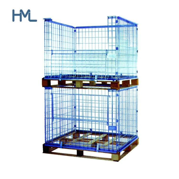 Euro industrial warehouse welded collapsible stacking storage steel wire mesh pallet container with wooden pallet