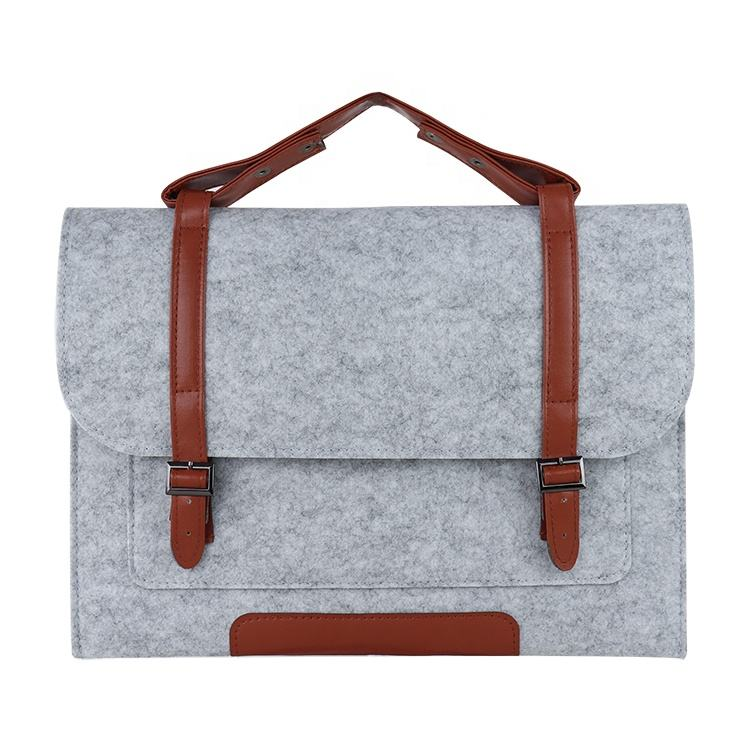 BSCI ISO factory Eco-friendly business gift felt Non woven laptop bag for women men Felt Laptop Sleeve Case Leather laptop bag