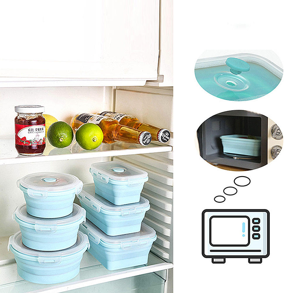 Folding Silicone Lunch-box Can Be Oven Best Quality Food Container to Keep Fresh Light Portable Picnic Food Box