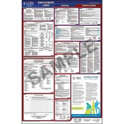 "2020 Pennsylvania Labor Law Poster, All-in-One OSHA Compliant PA State & Federal Laminated Poster (26"" x 40"" English)"