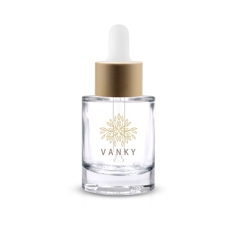 30ml glass cosmetic face serum bottle with golden matte dropper