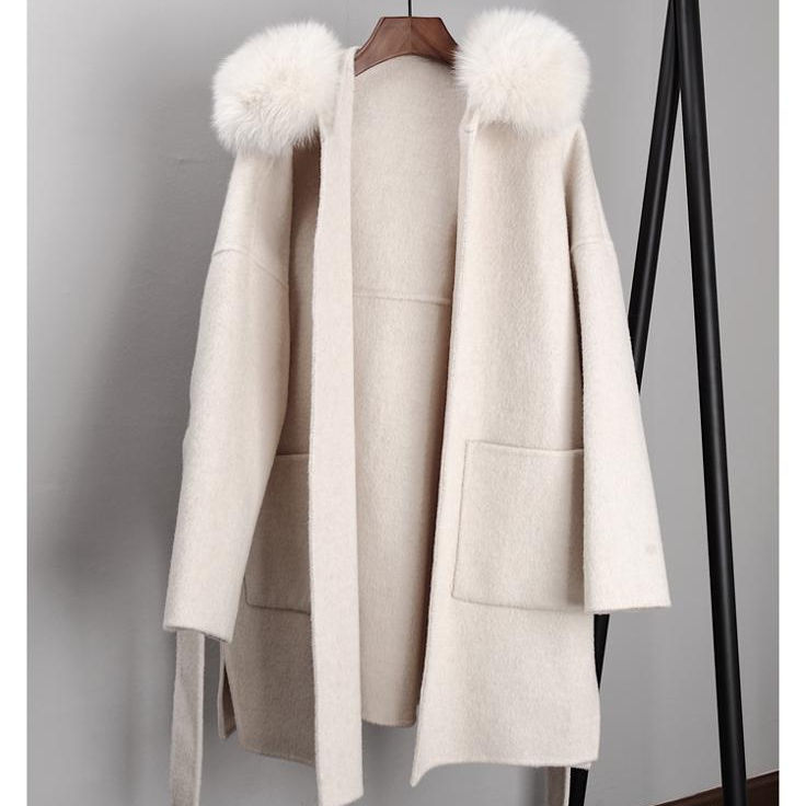 SF0550 Trench Solid Patterned Detachable Real Fox Fur Women Coat Sleeveless Long Hooded Alpaca Wool Poncho Cashmere Cape