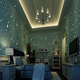 Space theme non-woven cartoon fluorescent 3D wallpaper with star and moon design for children's bedroom made in China