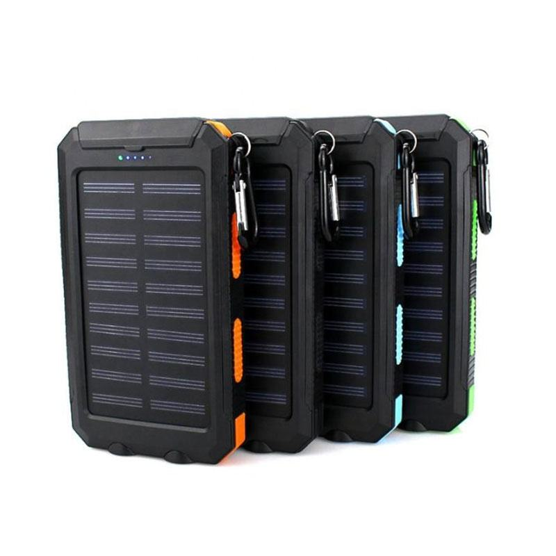 solar charger 20000 mah power banks dual usb waterproof powerbank mobile phone solar power bank 20000mah with compass