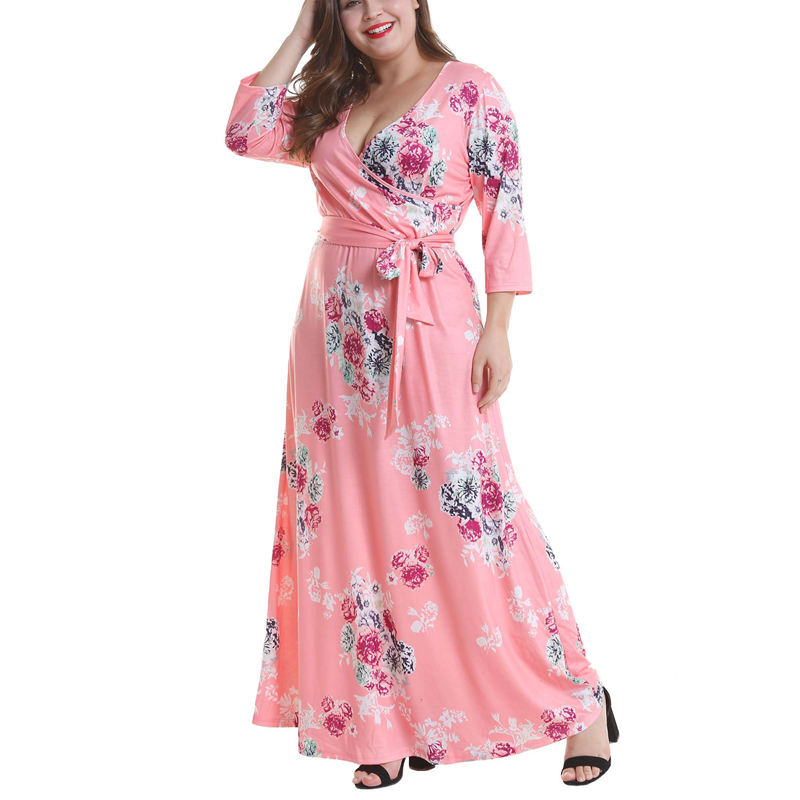 Latest Summer casual dress floral print sexy maxi dress women plus size dress