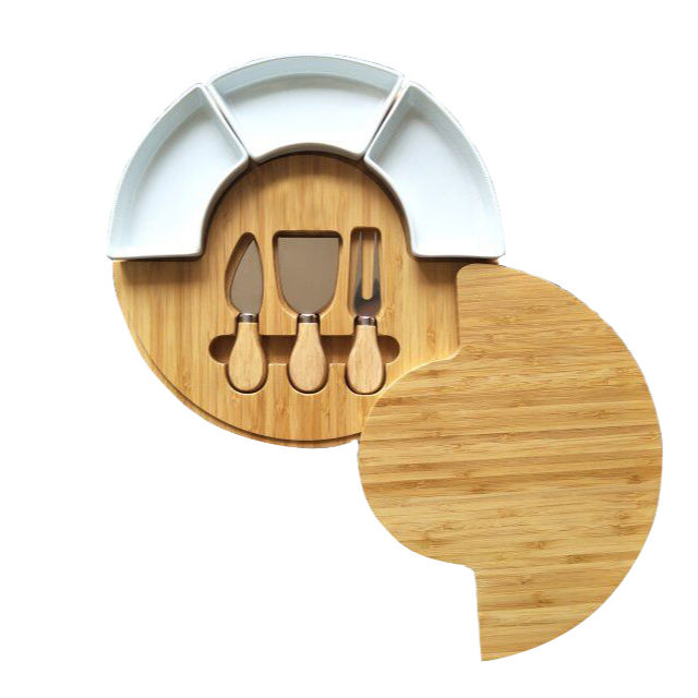 Wood Bamboo Cheese Cutting Board Set with Knife Set and Ceramic Bowls