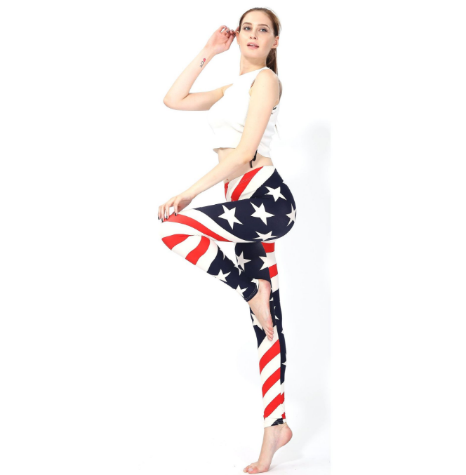 Wholesale Milk Silk Fabric Buttery super soft American flag printed sexy leggings for women