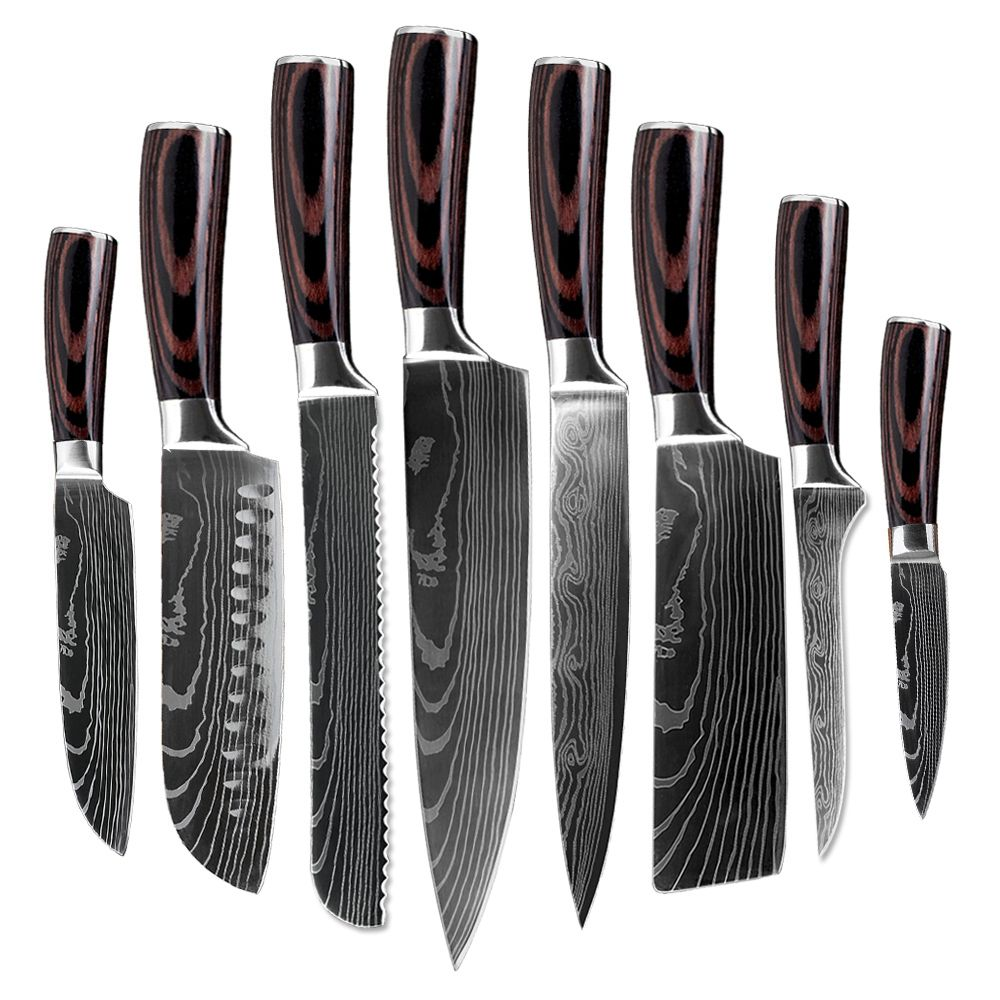 8 PCS Kitchen Knife Set Stainless Steel Blades Damascus Laser Chef Knife Sets Santoku Utility Paring Cooking Tools kitchen Gifts