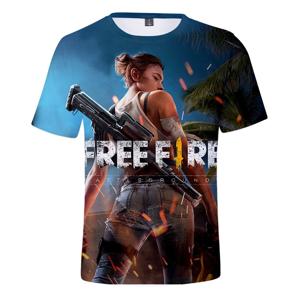 Wholesale stock no moq 3D printed free fire t shirt top sale high quality dryfit fbaric free fire t shirt