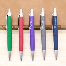 Custom promotional Branded plastic rubber coated click hotel pen for promotion