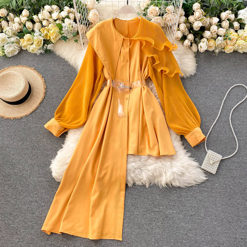 High End Irregular Shirt Women Lantern Sleeve Pleated Ruffled Stitching Large Lapel Temperament Ladies Top