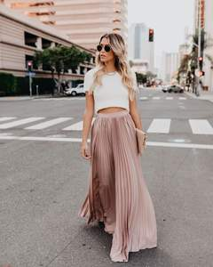 Slanna stock Elegant beauty women pink solid color maxi Lady long pleated skirt for women