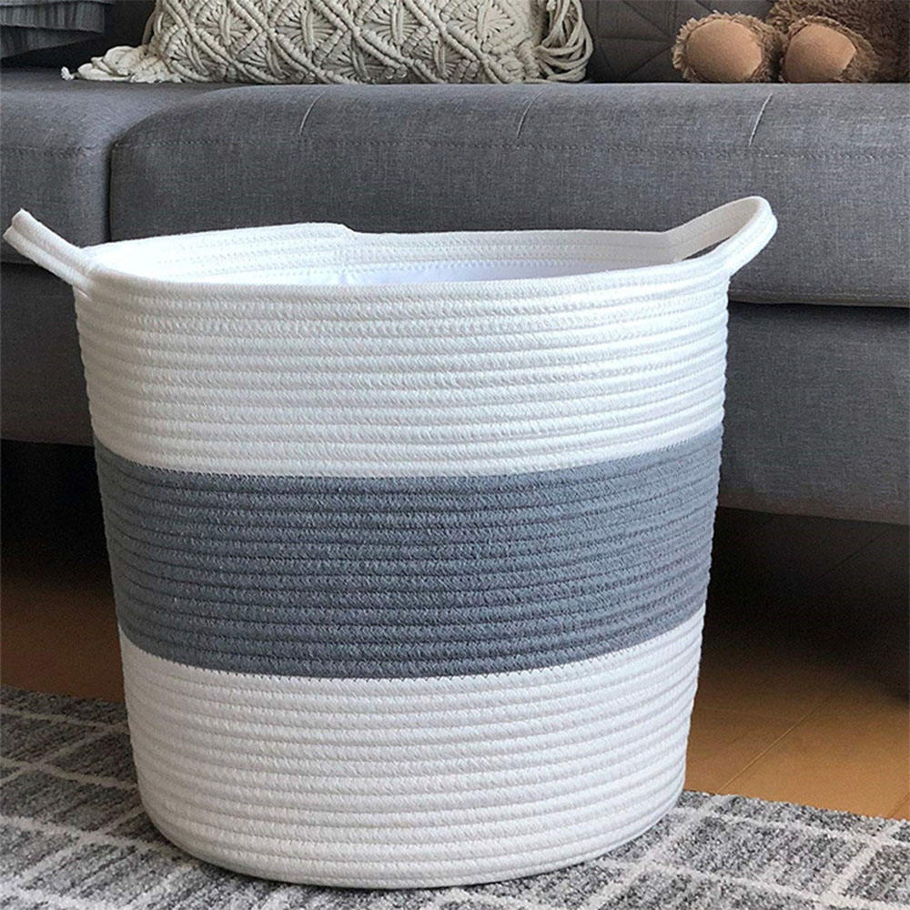 Woven Storage Basket Purple Basket. Decorative Clothes Hamper Basket Laundry Basket 18x16-100/% Natural Cotton Rope Basket Large Blanket Basket Living Room Pillow Basket XXL Cotton Rope Basket Large Basket Toy Basket