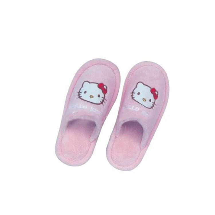 pink hello kitty embroidery soft terry indoor slippers for kids
