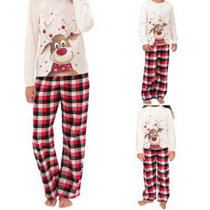 Wholesale 2020 Family Christmas Pajamas Xmas Deer Print Adult Women Kids Family Matching Clothes Christmas Pajamas Family Set