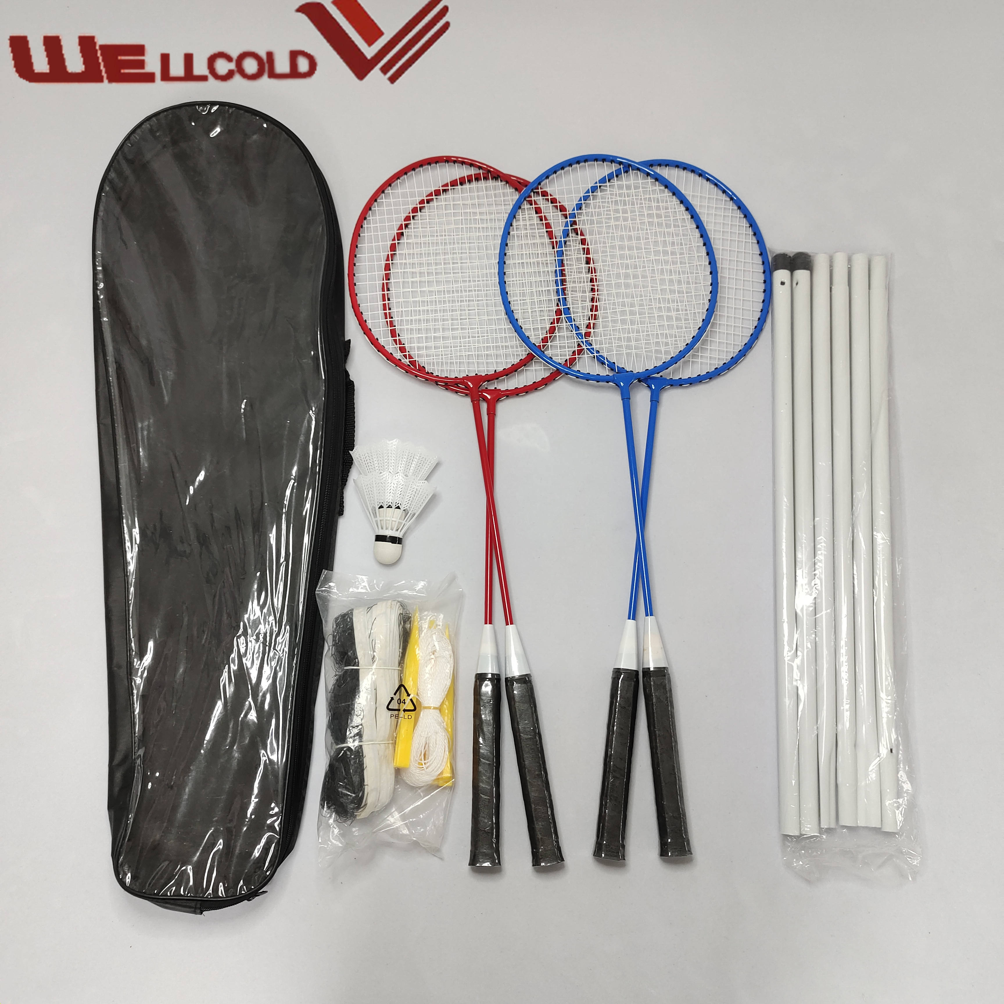 Cheapest best quality steel badminton set,top brand racket badminton set for players