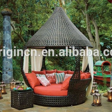 Unique indian palace style outdoor relaxing wicker sun lounger furniture hotel large round rattan bed
