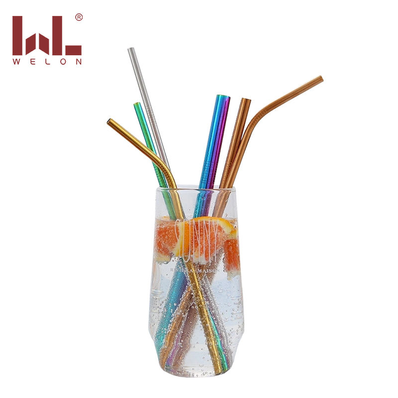 SUS304 stainless steel straw 6mm diameter metal straw rainbow drinking straw with mix size 7 colors