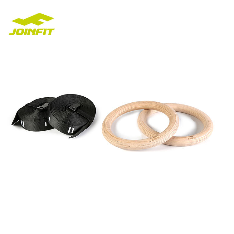 Joinfit Wooden Gymnastic Rings with Buckles Straps, High Density Heavy Duty Birch for Gym Workout Body Strength Training Fitness
