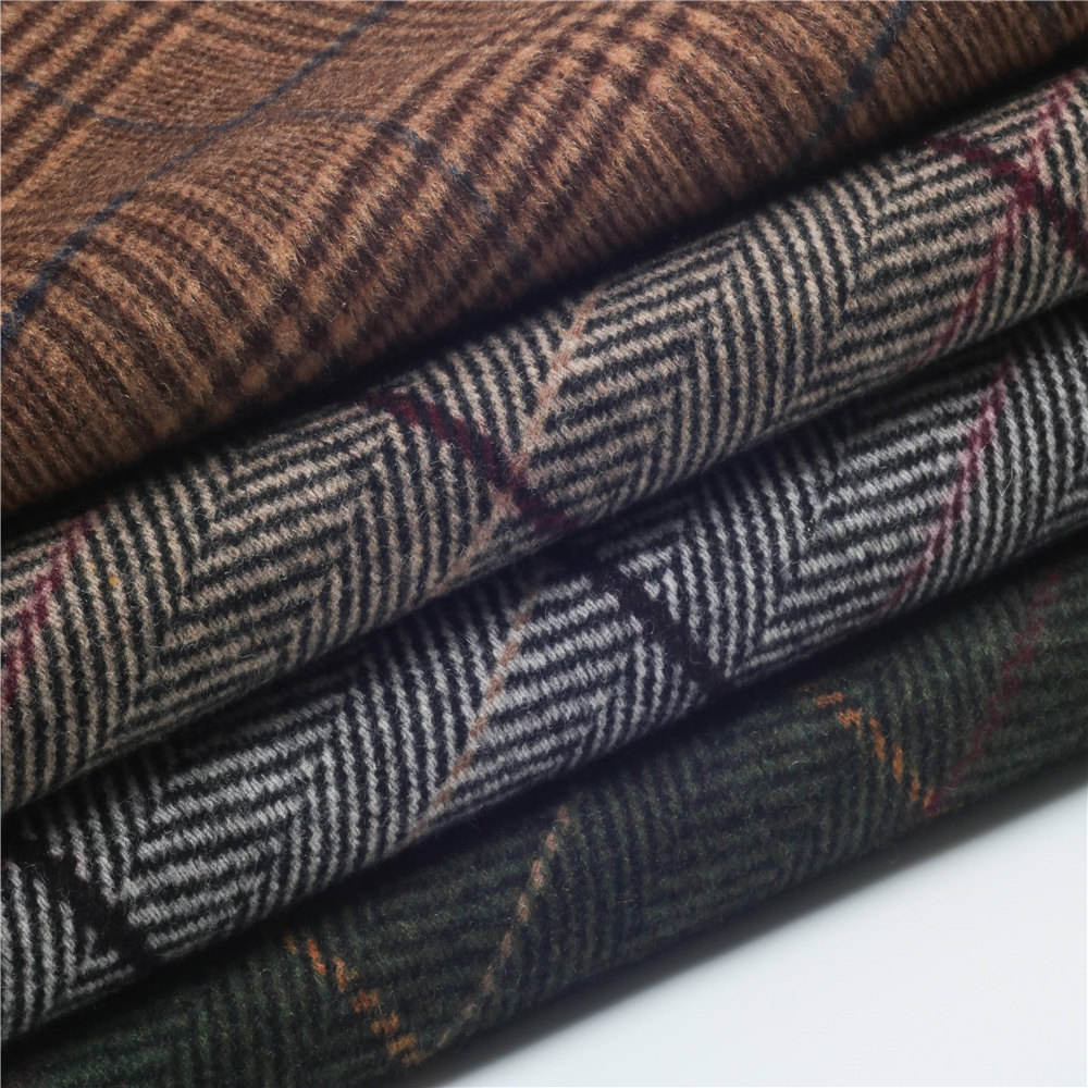 wholesale double sided Herringbone checked blend plaid tartan yarn dyed wool fabric for coat