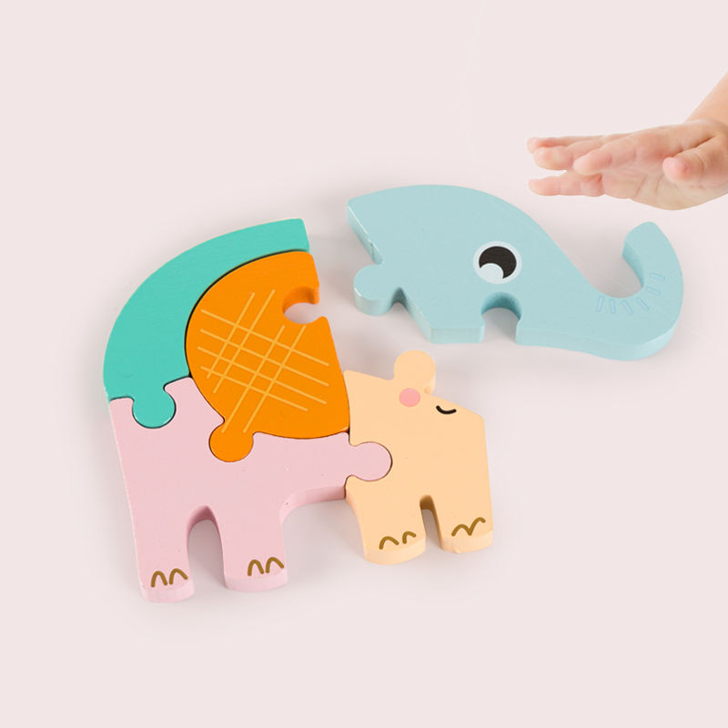 New Design Mini 3D Wooden Cartoon Jigsaw Puzzle Toys Wholesale Customized Kids Self Assemble Educational Toys
