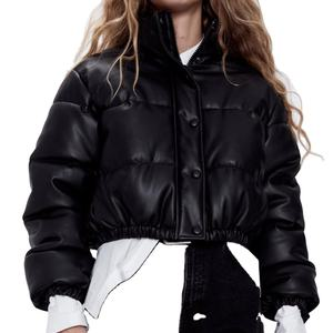 2020 WOMANS NEW FASHION FAUX LEATHER PUFFER JACKET