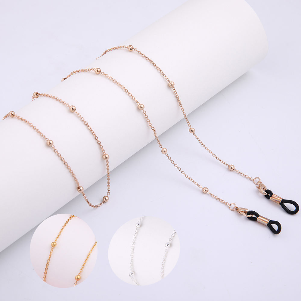 2mm Beads Copper Silver Plating Reading Spectacles Cord Holder Metal Eye Beaded Gold Sunglasses Glasses Chain For Sunglasses